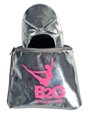 555*710_silber mit Tasche_faltbare Ballerinas wechselschuhe Schuhe Ballerina2go Afterparty schuhe Schuhe zum falten rollen
